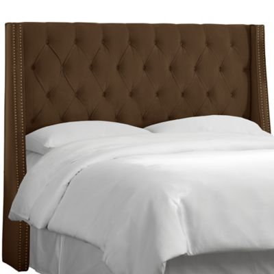 Skyline Furniture King Tufted Nail Button Wingback Headboard in Velvet Chocolate