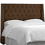 Skyline Tufted Nail Button Wingback Headboard in Velvet Chocolate