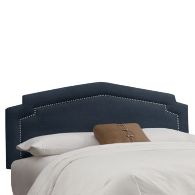 Skyline Furniture Full Nail Button Headboard in Linen Navy
