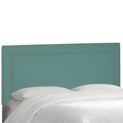 Skyline Furniture Full Nail Button Border Headboard in Velvet Caribbean