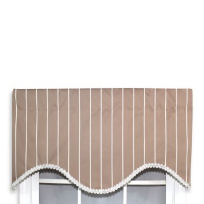 RL Fisher 52-Inch by 17-Inch Pin Striped Cornice Valance in Beige