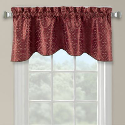 Darrow Embroidered Arch Scallop Valance in Mineral