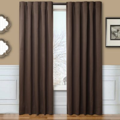 Blackout 84-Inch Window Curtain Panel Pair with Hardware in Chocolate