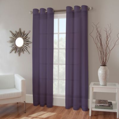 Crushed Voile 108-Inch Grommet Sheer Window Panel in Eggplant