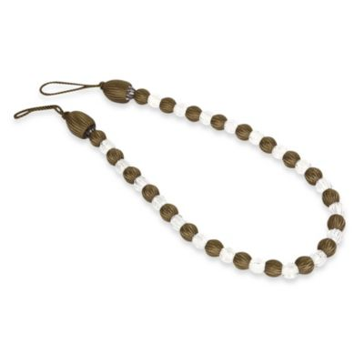 Arlington Rayon Bead with Crystal Bead Tie Back in Chocolate