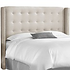 Skyline Nail Button Tufted Wingback Headboard in Linen Talc