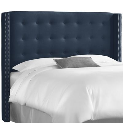 Skyline Furniture Full Nail Button Tufted Wingback Headboard in Linen Navy