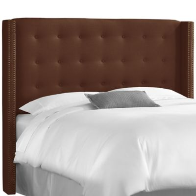 Skyline Furniture Full Nail Button Tufted Wingback Headboard in Linen Chocolate