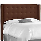 Skyline Nail Button Tufted Wingback Headboard in Linen Chocolate