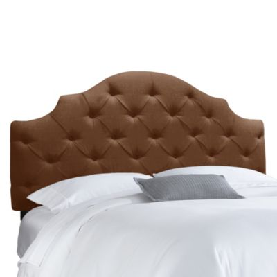 Skyline Furniture Twin Tufted Notched Headboard in Linen Chocolate