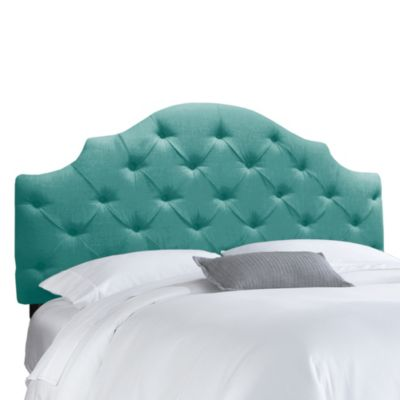 Skyline Furniture Queen Tufted Notched Headboard in Linen Laguna