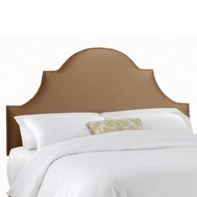 Skyline Furniture California King Nail Button High Arch Notched Headboard in Shantung Khaki