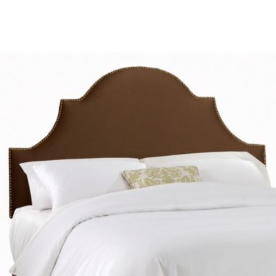 Skyline Furniture Twin Nail Button High Arch Notched Headboard in Shantung Chocolate