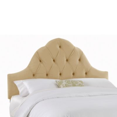 Skyline Furniture Queen Arch Tufted Headboard in Velvet Buckwheat