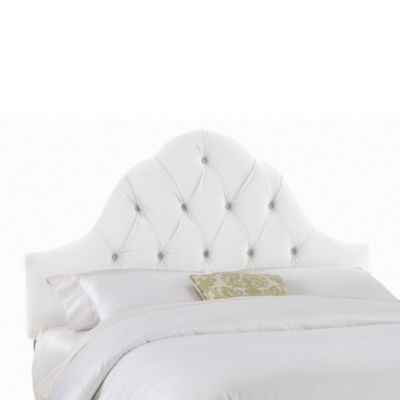 Skyline Furniture Twin Arch Tufted Headboard in Velvet White