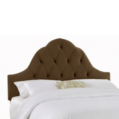 Skyline Furniture Twin Arch Tufted Headboard in Velvet Chocolate