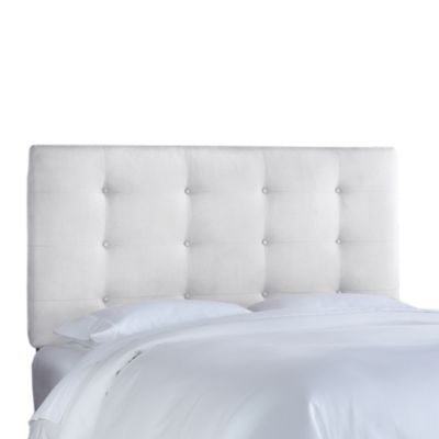 Skyline Furniture Full Button Tufted Headboard in Premier White