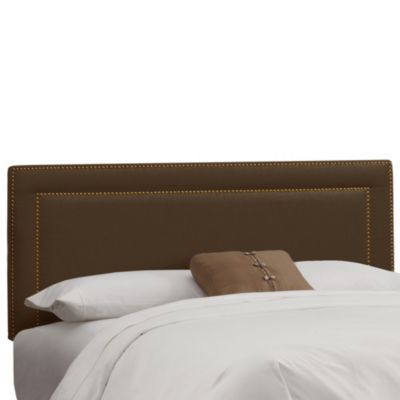 Skyline Nail Button Border Headboard in Linen Chocolate