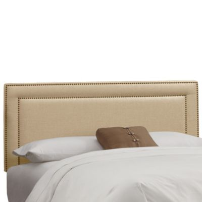 Skyline Furniture Full Nail Button Border Headboard in Linen Sandstone