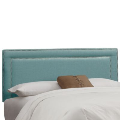 Skyline Nail Button Border Headboard in Linen Laguna