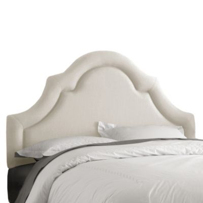 Skyline Furniture Queen High Arch Border Headboard in Linen Talc