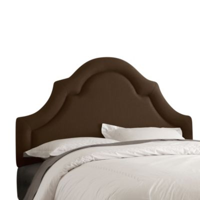 Skyline Furniture Twin High Arch Border Headboard in Linen Chocolate