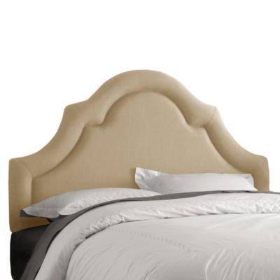 Skyline Furniture King High Arch Border Headboard in Linen Sandstone