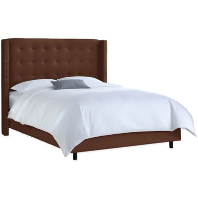 Skyline Furniture Queen Nail Button Tufted Wingback Bed in Linen Chocolate