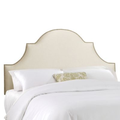 Skyline Furniture King Nail Button High Arch Notched Headboard in Shantung Parchment