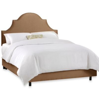 Skyline Furniture California King Nail Button High Arch Notched Bed in Shantung Khaki