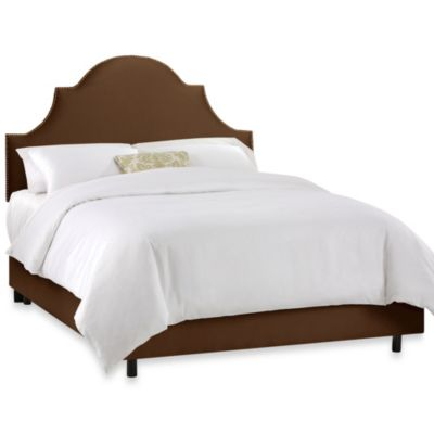 Skyline Furniture California King Nail Button High Arch Notched Bed in Shantung Chocolate