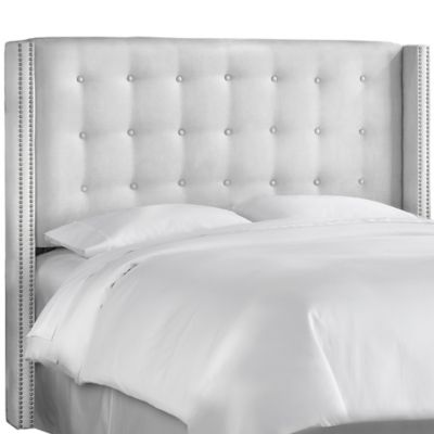 Skyline Furniture Full Nail Button Tufted Wingback Headboard in Premier White