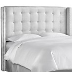 Skyline Nail Button Tufted Wingback Headboard in Premier White