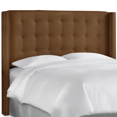 Skyline Nail Button Tufted Wingback Headboard in Premier Chocolate