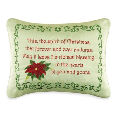 Holiday Garland Spirit of Christmas Embroidered Throw Pillow