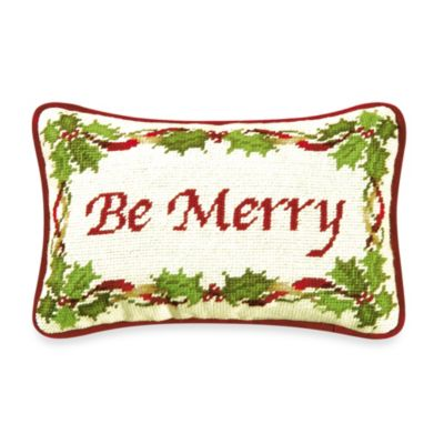 Holiday Garden Be Merry Needlepoint Throw Pillow