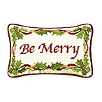Holiday Garden Be Merry Needlepoint Toss Pillow