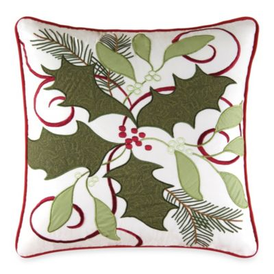Holiday Garland Embroidered Toss Pillow