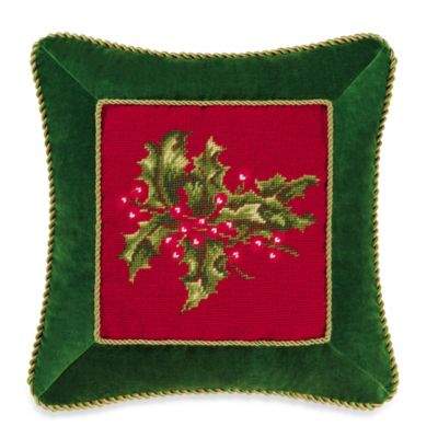 Holiday Garden Holly Red Needlepoint Throw Pillow