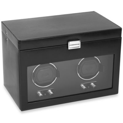 Wolf Designs® Heritage Double Watch Winder with Cover