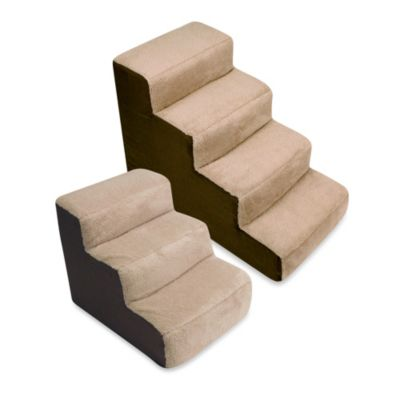 Padded 3-Step Pet Stairs in Brown/Tan
