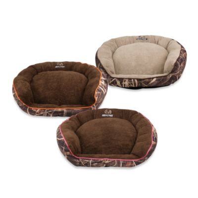 Realtree® Max4 Large Camo Bolstered Pet Bed with Orange Border/Brown Top