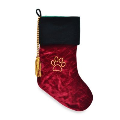 Pet Quilted Velvet Holiday Stocking with Swarovski® Elements