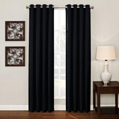 Ashton 84-Inch Grommet Window Curtain Panel in Black