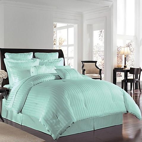 Wamsuttar 500 damask comforter set in sky bed bath beyond for Silk sheets queen bed bath beyond