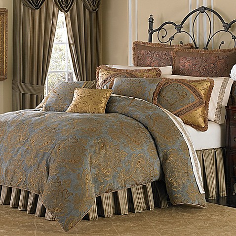 buy michael amini victoria 4 piece reversible california king comforter set from bed bath beyond. Black Bedroom Furniture Sets. Home Design Ideas