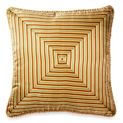 Michael Amini Victoria Pieced Stripe Square Throw Pillow