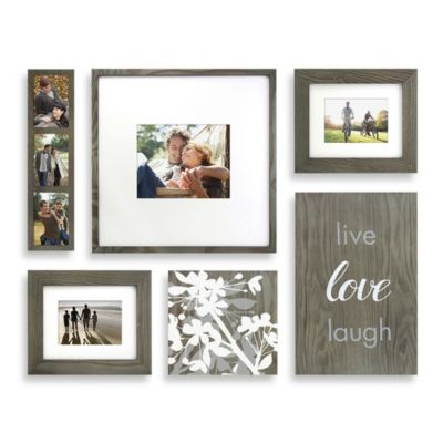 "Wallverbs™ Organic ""Live, Love, Laugh"" Blossom 6-Piece Box Picture Frame Set in Grey"