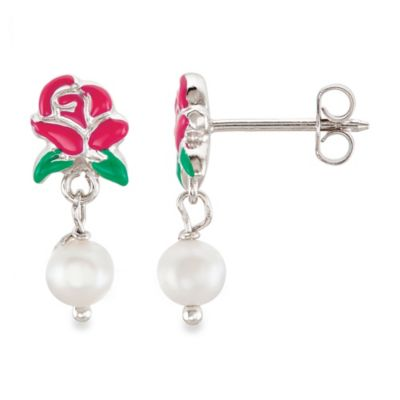 Disney® Sterling Silver Belle Rose and Pearl Earrings