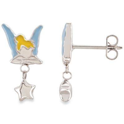 Disney® Sterling Silver Enamel Tinkerbell Earrings